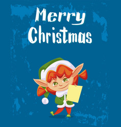 Merry christmas poster elf greeting with holiday vector