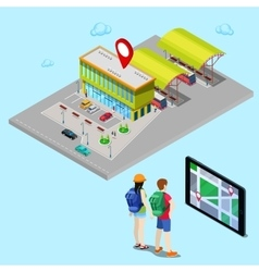 Mobile Navigation on Tablet Isometric City vector image