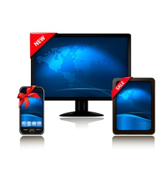 Monitor and tablet computer and mobile phone vector