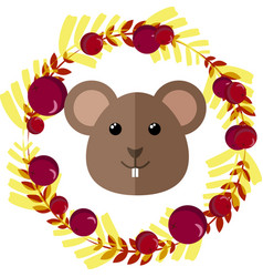 Mouse and leafy wreath separated vector