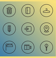 Navigation icons line style set with pin way in vector