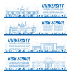 Outline set of university campus study banners vector