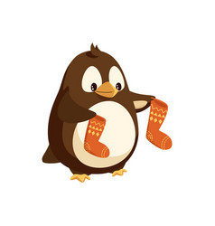 penguin cartoon character with socks in wings vector image