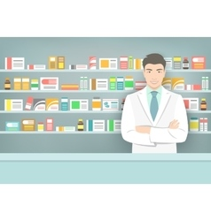 Pharmacist at counter in pharmacy opposite shelves vector image