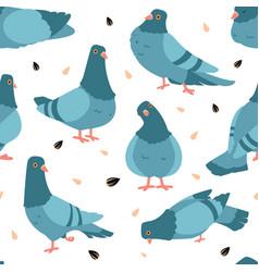 Pigeon pattern cartoon seamless texture wild vector