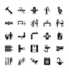 Plumbing glyph icons vector
