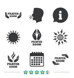 Prayer room icons religion priest symbols vector