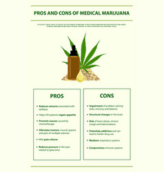 Pros and cons medical marijuana infographic vector