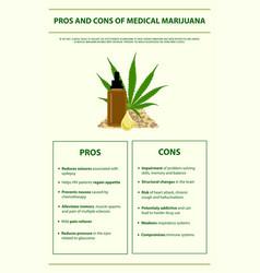 Pros and cons medical marijuana vertical vector