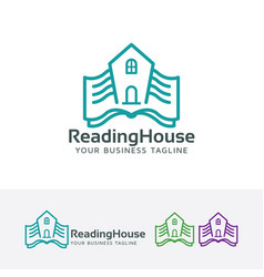 Reading house logo design vector