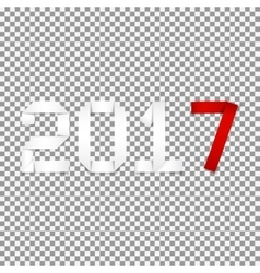 Realistic text 2017 on transparent backdrop vector