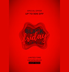red poster for black friday sale vector image