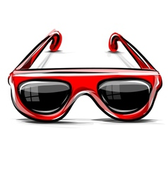 Red sunglasses icon isolated on white vector image