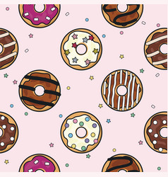 Seamless donut background pattern vector