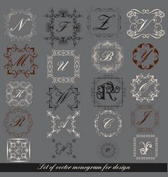 set calligraphic monogram for design vector image