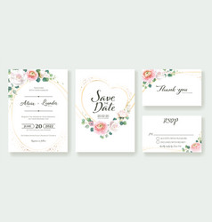 set floral wedding invitation card templates vector image