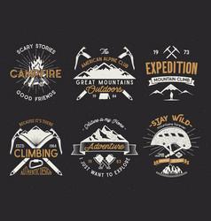 Set mountain climbing labels mountains vector