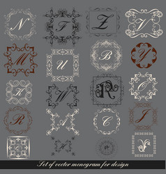 set of calligraphic monogram for design vector image