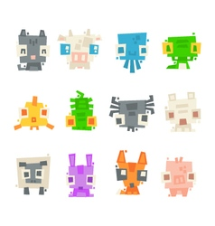 Set of simple minimal flat animal characters vector