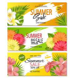 Set of summer sale banner templates with with vector