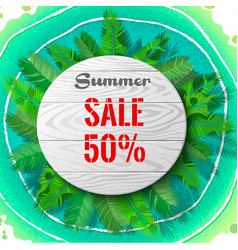 Summer sale in palm leaves vector
