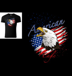 T-shirt design with bald eagle and us flag vector