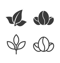 tea leaves and coffee beans icons vector image