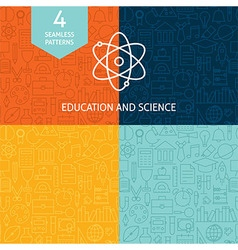 Thin Line Education Science School Patterns Set vector
