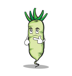 Thinking face white radish cartoon character vector