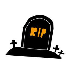 tombstone rip grave flat single icon halloween vector image