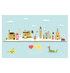 Travel poster with famous symbols great britain vector