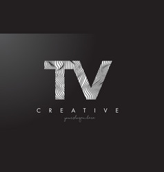 Tv t v letter logo with zebra lines texture vector