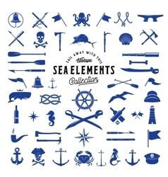 Vintage Sea or Nautical Icon Elements Set vector image