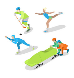 Winter sports people isometric flat vector