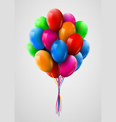 3d realistic colorful bunch of flying birthday vector image vector image