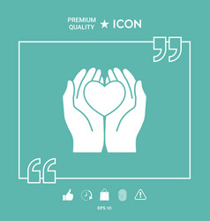 hands holding heart - protection symbol vector image