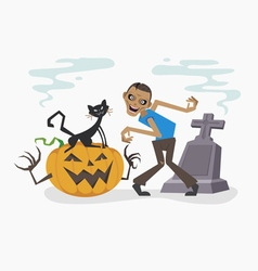 Happy halloween with zombie and black cat vector