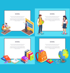 school 3d set with various icons vector image vector image