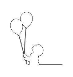 small boy holding two balloons vector image vector image