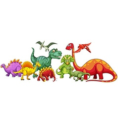 Different type of dinosaurs in group vector