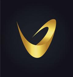 letter v abstract gold logo vector image