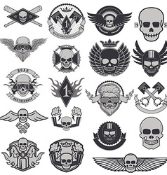 Set of biker labels and emblems vector image vector image