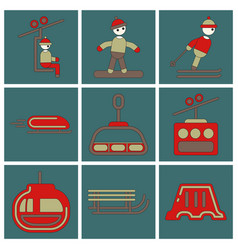 set of icons in flat design winter sport vector image vector image
