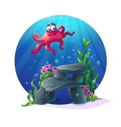 Underwater cartoon comic octopus on rocks in ocean vector image vector image