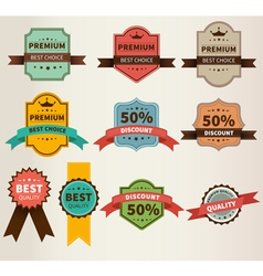 Vintage Labels set discount and premium vector image vector image