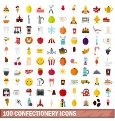 100 confectionery icons set flat style vector image