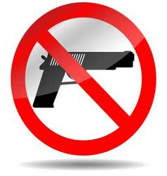 Ban of weapons pistol vector image