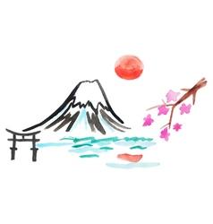mount Fuji and sakura in Japan vector image vector image