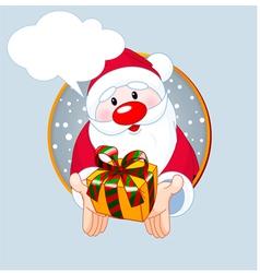 Santa giving a gift vector image vector image
