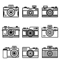Set Of Outline Camera Icon vector image vector image